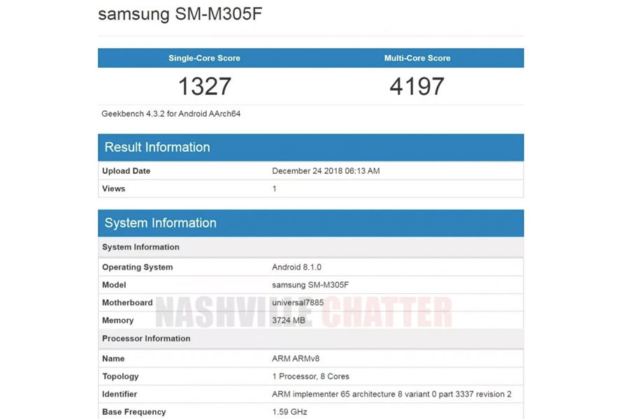 Samsung Galaxy M30 listed on geekbench 4gb ram specifications in hindi