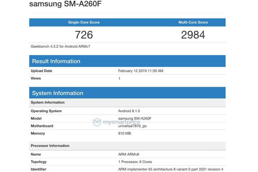 samsung SM-A260F listed on Geekbench with android go 1gb ram in hindi