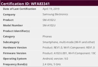 samsung galaxy a10e sm-a102u listed on certifications site