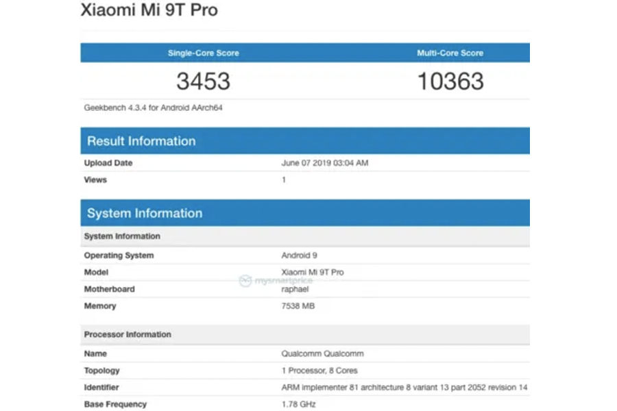 Xiaomi Mi 9T Pro listed on geekbench with 8gb ram