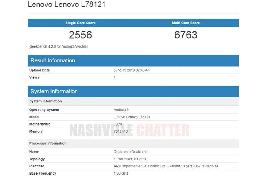 Lenovo Z6 listed on geekbench 8gb ram Lenovo L78121 specs leaked