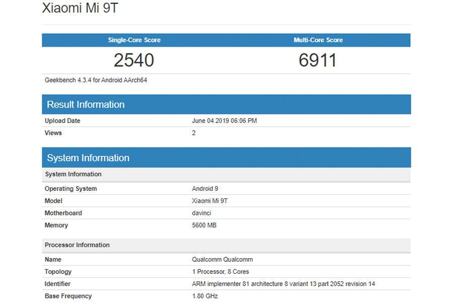 Xiaomi Mi 9T listed on geekbench as Da Vinci with 6gb ram specifications redmi k20