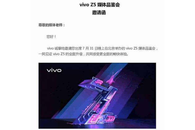 Vivo Z5 V1921A to launch on 31 july specs revealed