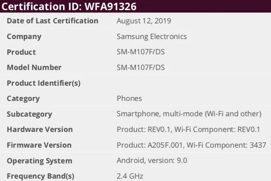 Samsung Galaxy M10s SM-M107F/DS 3gb ram Exynos 7885 SoC spcs leaked