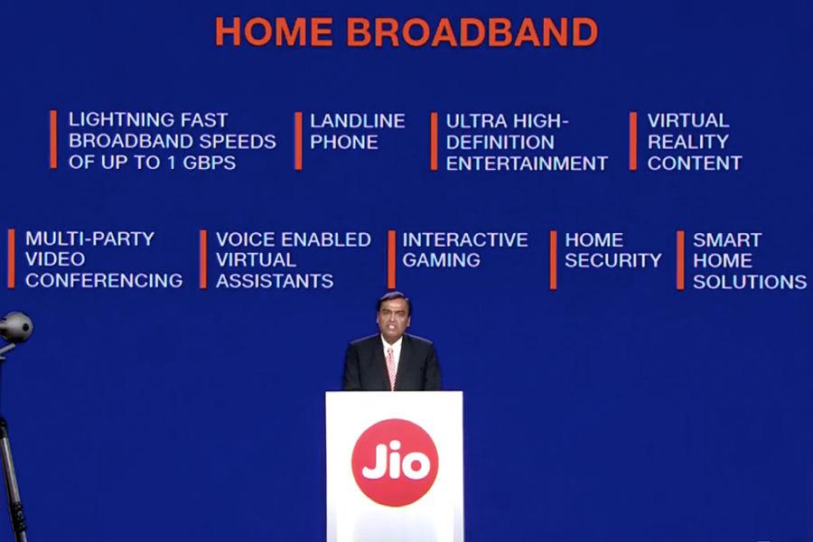 Reliance Industries agm high speed broadband Jio Fiber with free 4K LED TV Setup Box india offer