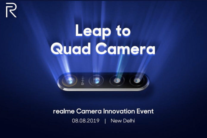 realme 64mp quad camera technology to reveal in delhi on 8 august