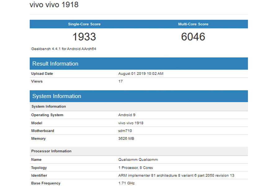 Vivo 1916 Vivo 1918 listed on geekbench specifications leaked