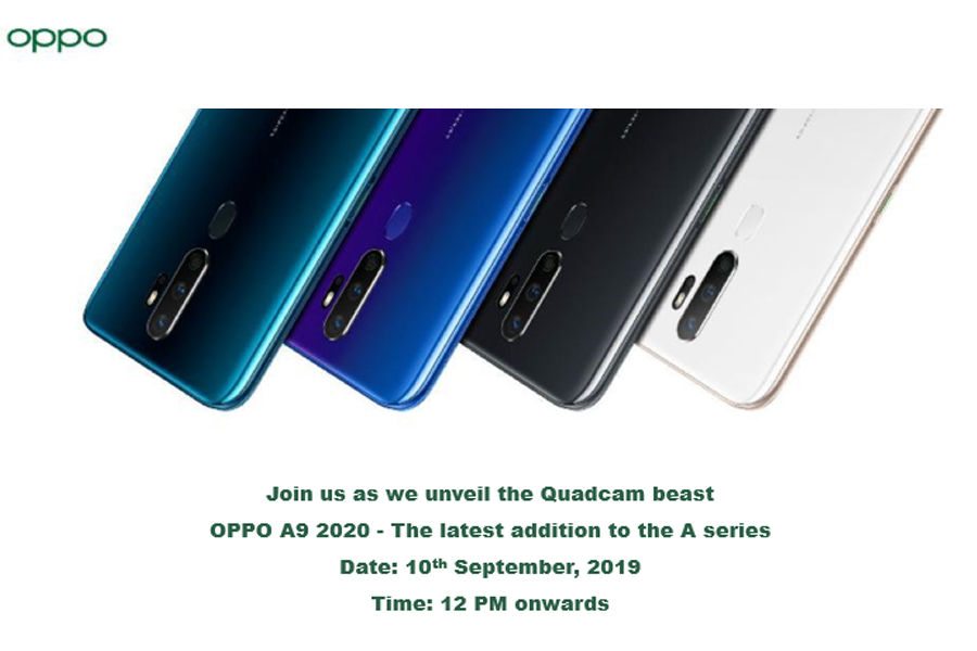 oppo a9 2020 to launch in india 10 september with 5000mah battery quad rear camera 8gb ram specs price