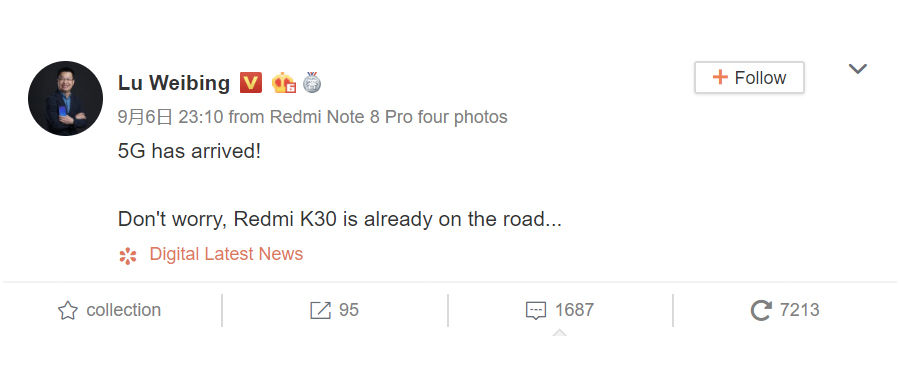 xiaomi lu weibing redmi k30 is on the road with 5g support