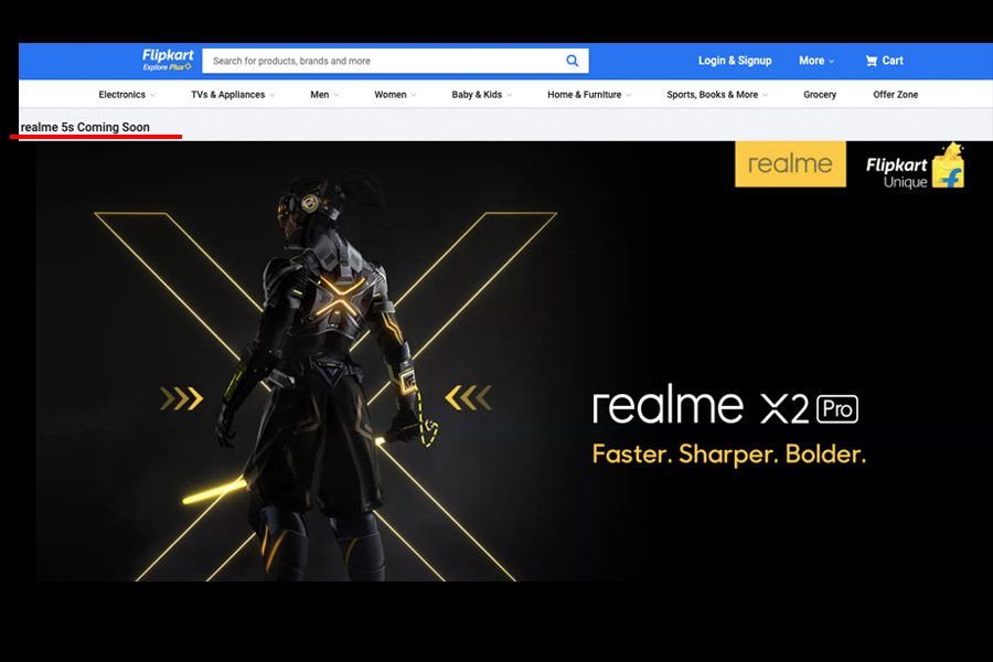 Realme 5s listed on flipkart Coming Soon launching on 20 november in india price x2 pro