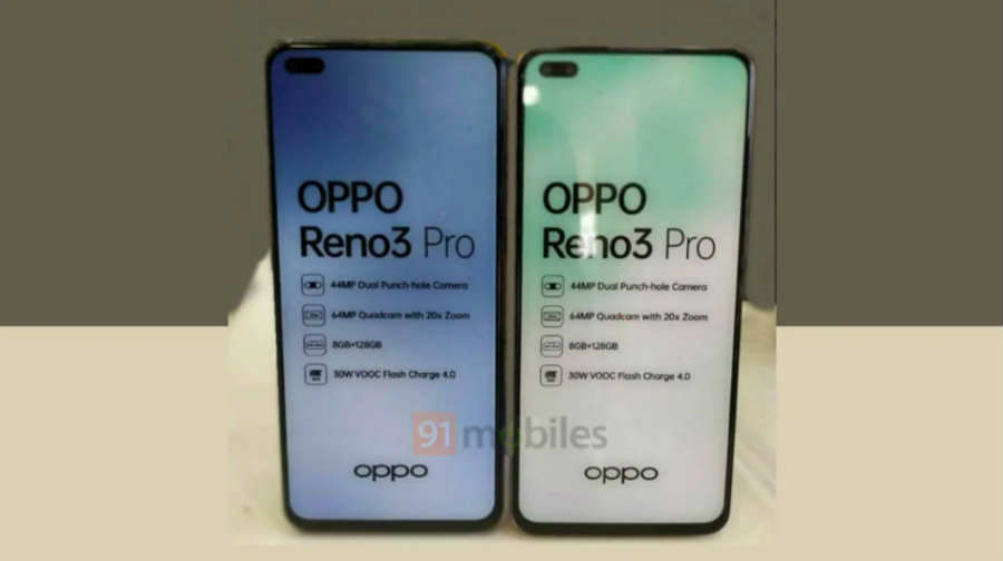 OPPO Reno 3 Pro 44mp dual selfie 64mp quad rear camera details revealed specs price sale 2 march india launch