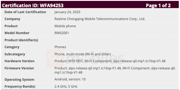 Realme 6 RMX2001 certified on wi-fi Alliance with android 10 MediaTek MT6785T chipset