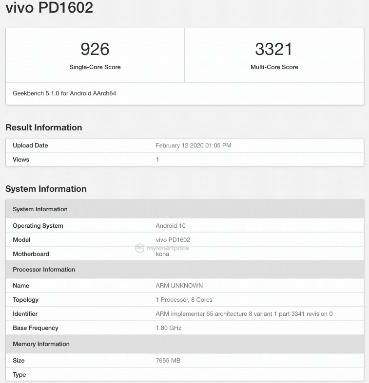 Vivo PD1602 and PD1728 listed on geekbench with android 10 kona snapdragon 865 5g 12gb ram specs leaked