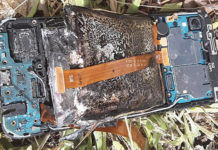 Samsung Galaxy A20e caught fire phone burnt blast smartphone into flames