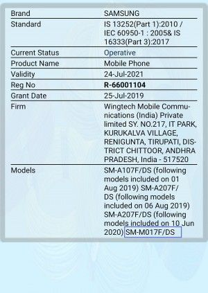 Samsung Galaxy M01S listed on bis launching soon specs price leaked rs 9000