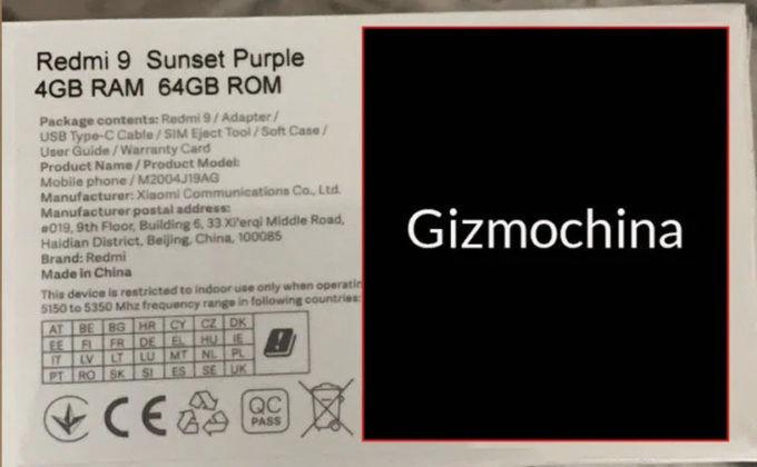 xiaomi redmi 9 price revealed variants box color specs leaked sale