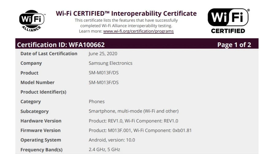 Samsung Galaxy M01 Core SM-M013F DS listed on wifi alliance android 10 launching soon