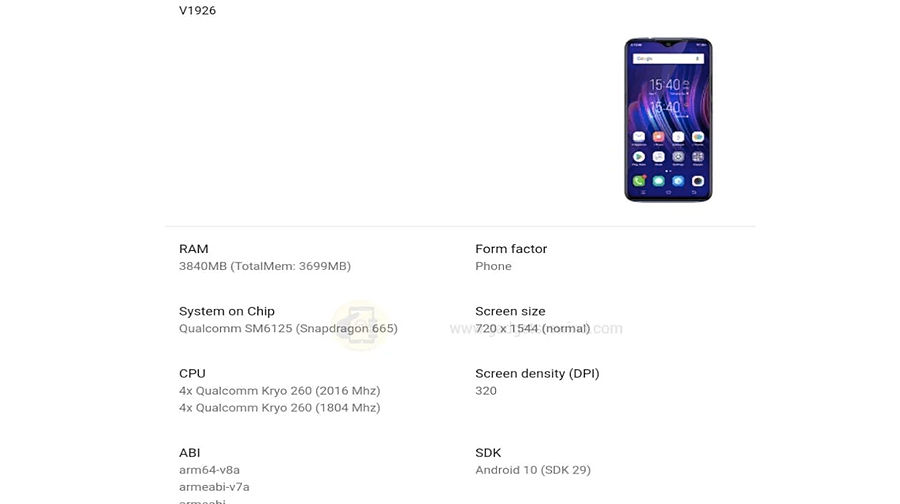 Vivo Y12 2020 V1926 Google Play console specs leaked 4gb ram Snapdragon 665