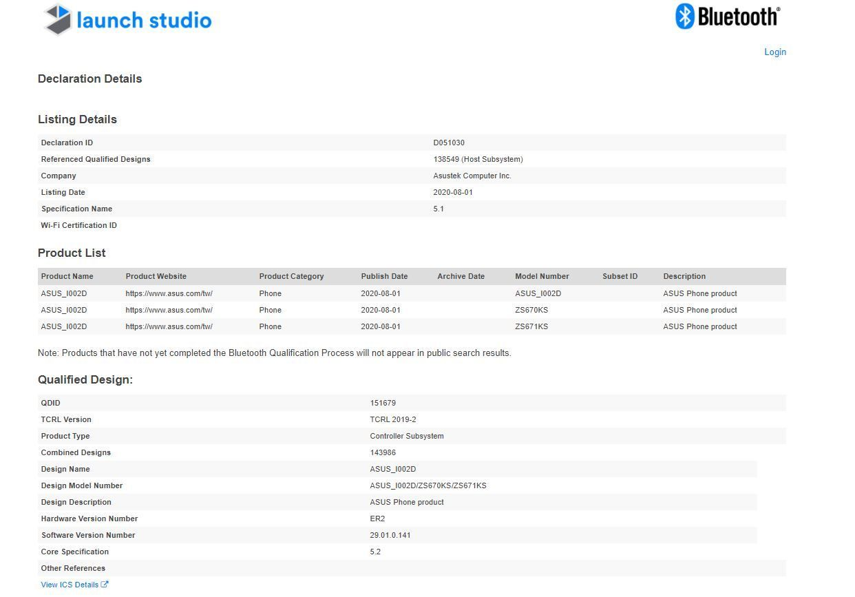 ASUS Zenfone 7 Pro listed on sig specs leaked