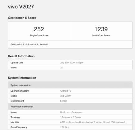 Vivo Y20 geekbench bluetooth sig certification specs leaked