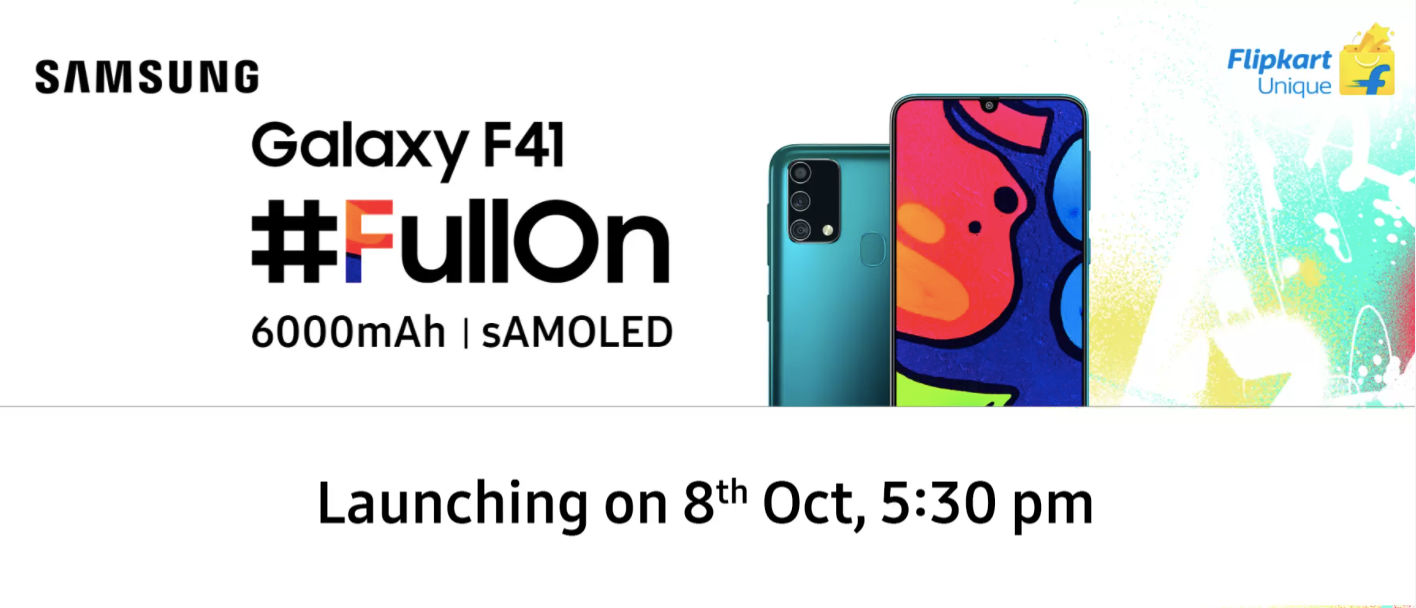 Samsung Galaxy F41 to launch on 8 october with 6000 mah battery Samoled display