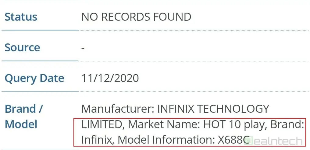 Infinix Hot 10 Play listed on fcc 2gb ram 32 gb storage leaked