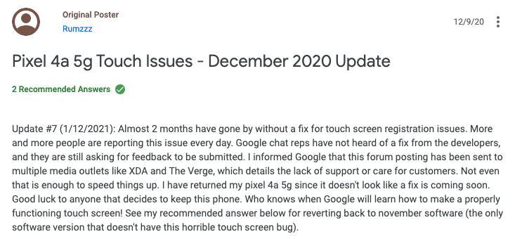 google-pixel-4a-5g-phone-touch-issue-complain-problem