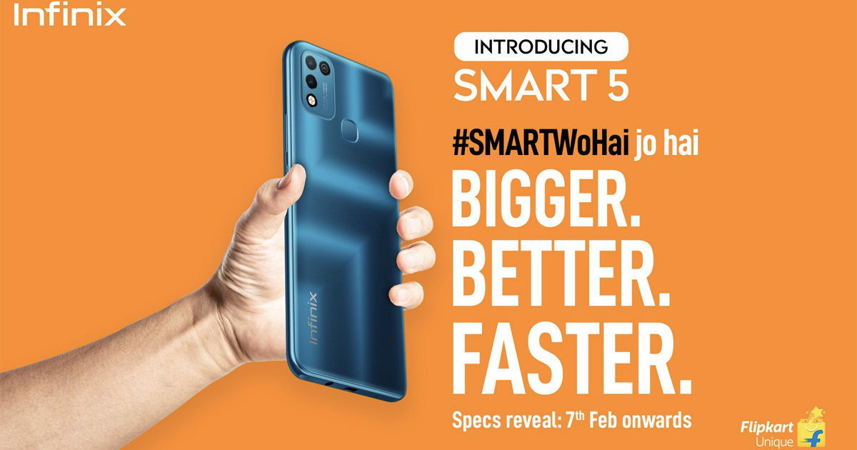 Infinix Smart 5 india launch date 11 february with 6000mah battery