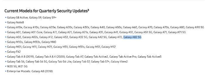 samsung galaxy a82 update tracking