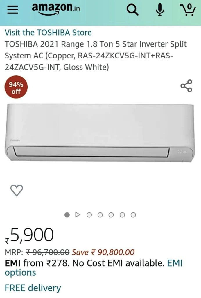 amazon sold toshiba inverter ac of rs 96700 at just rs 5900 with 94 percent discount by mistake