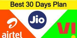 jio airtel vodafone idea best 30 days plan